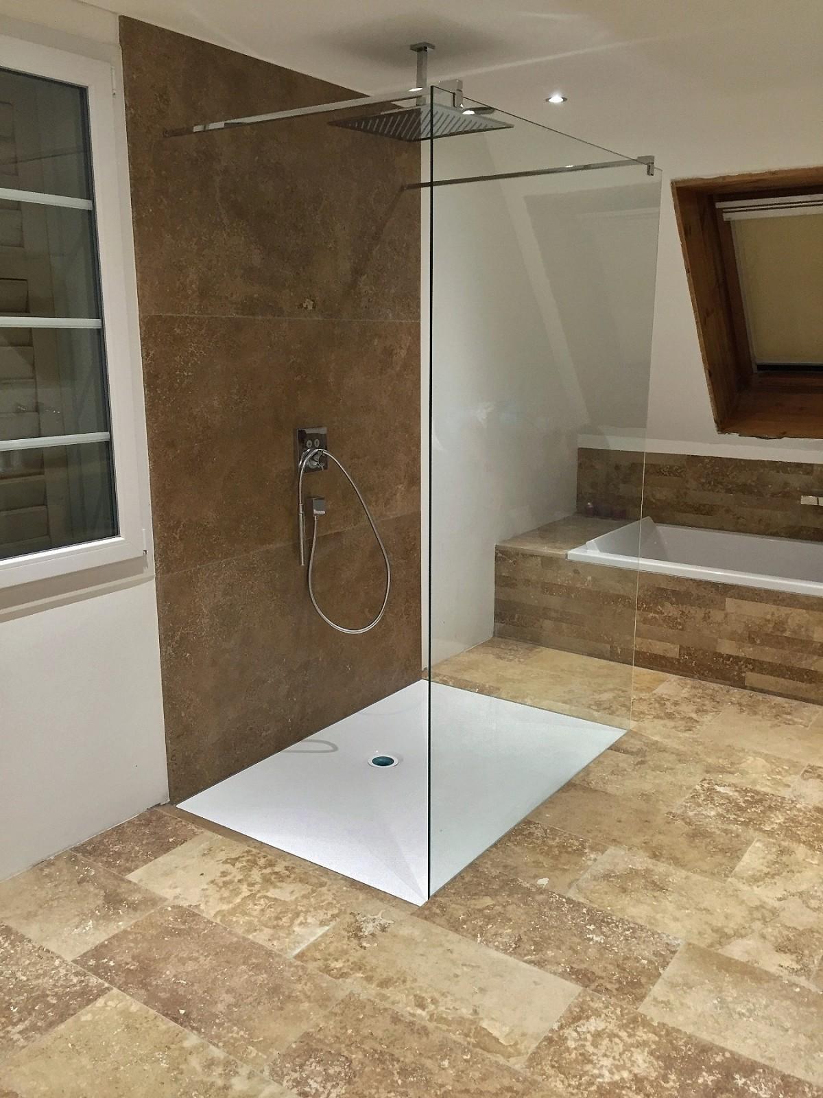 travertin noce als duschwandverkleidung auf ma zugeschnitten. Black Bedroom Furniture Sets. Home Design Ideas