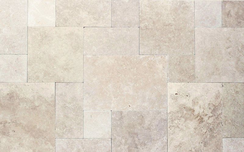 Tarvertin Terrassenplatten MEDIUM GREAT in hell beige Römischer Verband