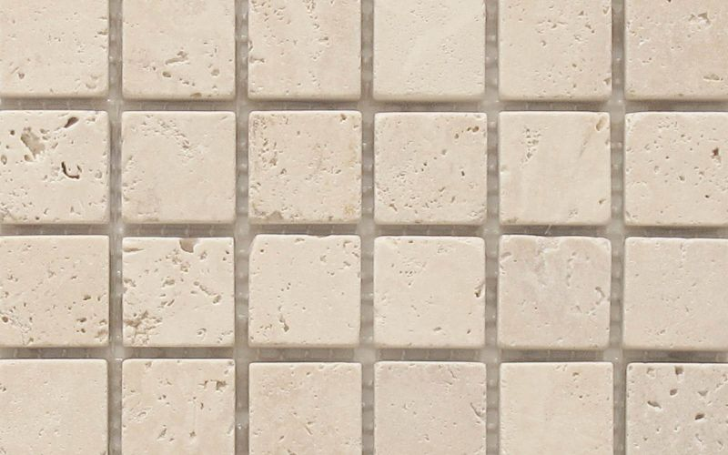 Travertin Mosaiknetz Crema 5x5