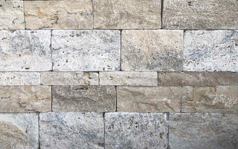 Beige - Braune Travertin Mauersteine Rustic Mix Naturstein