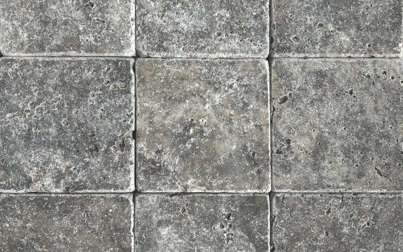 Travertin Mosaikfliesen Silver grau 10x10 antik
