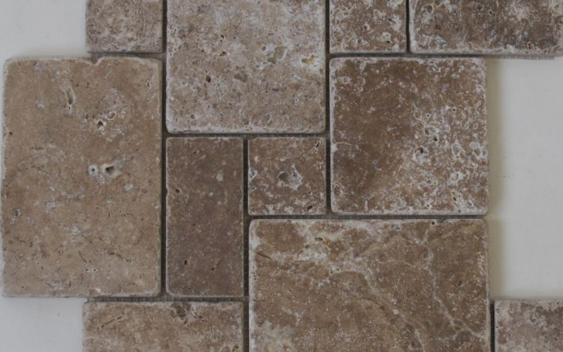Travertin Mosaiknetz Noce mini Römischer Verband