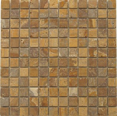 Travertin Naturstein Mosaik-Netz Gold antik