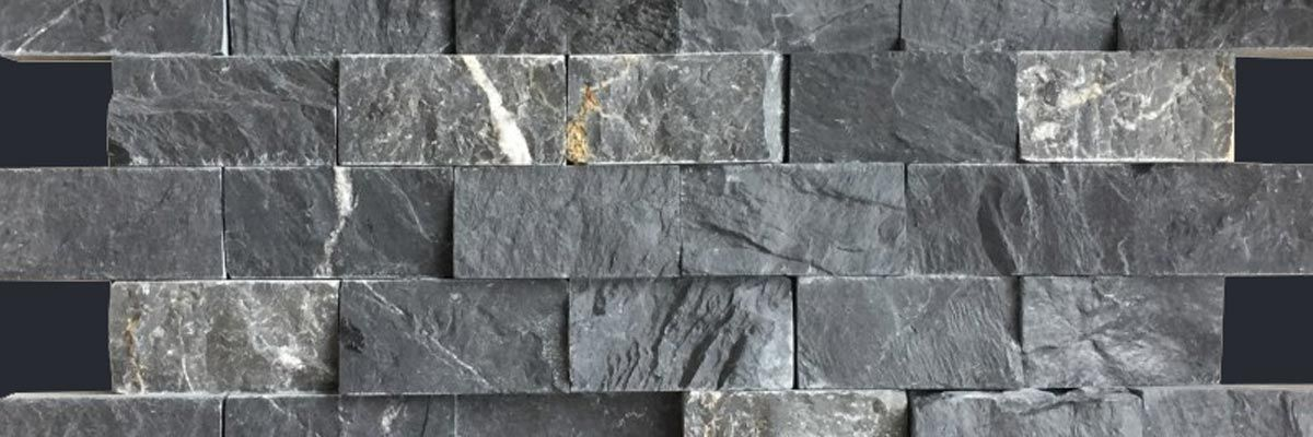 Marmor Wandmosaik Brick Black Antique